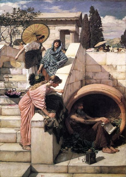 Waterhouse, John William: Diogenes. Fine Art Print/Poster. Sizes: A4/A3/A2/A1 (00855)